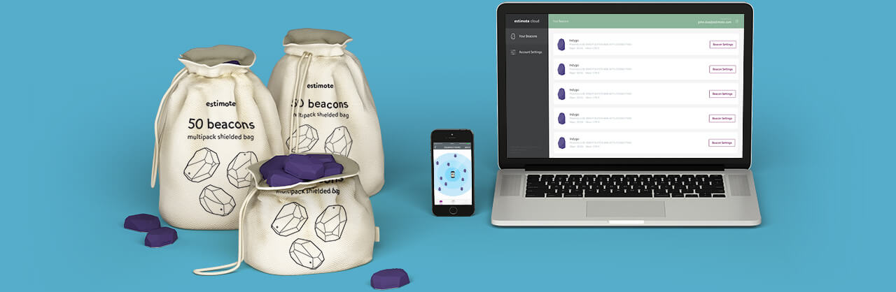 Estimote Beacons in shielded installation bag